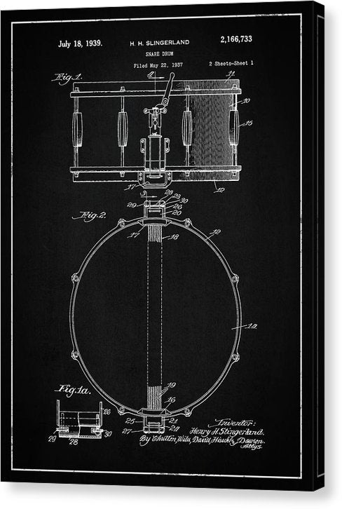 Vintage Snare Drum Patent, 1938 - Canvas Print from Wallasso - The Wall Art Superstore