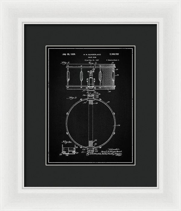 Vintage Snare Drum Patent, 1938 - Framed Print from Wallasso - The Wall Art Superstore