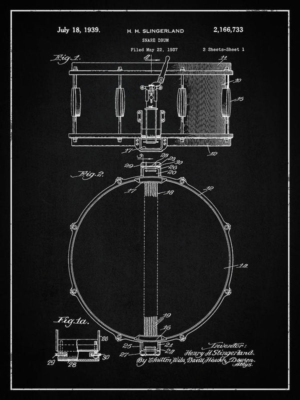 Vintage Snare Drum Patent, 1938 - Art Print from Wallasso - The Wall Art Superstore