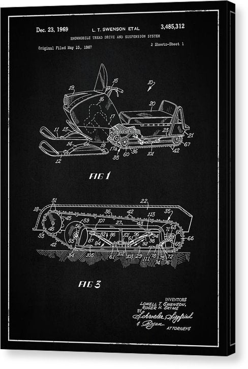 Vintage Snow Mobile Patent, 1969 - Canvas Print from Wallasso - The Wall Art Superstore