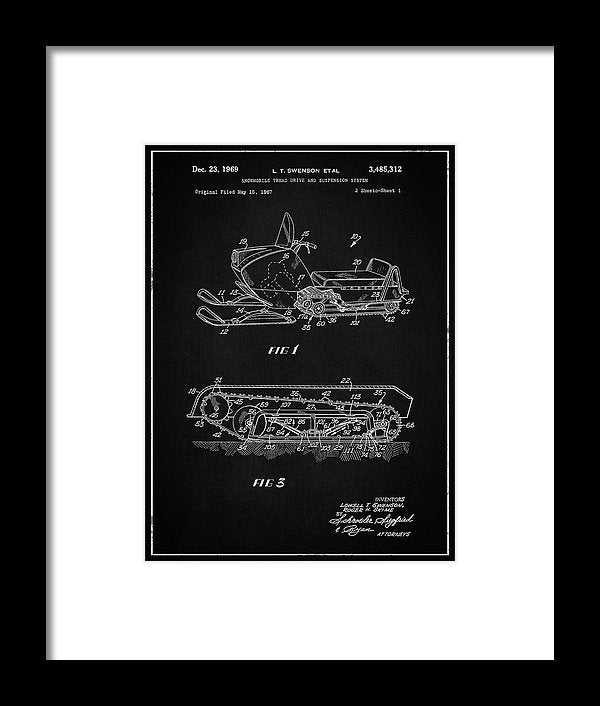 Vintage Snow Mobile Patent, 1969 - Framed Print from Wallasso - The Wall Art Superstore