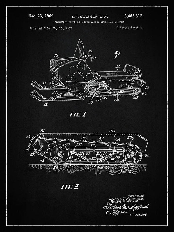 Vintage Snow Mobile Patent, 1969 - Art Print from Wallasso - The Wall Art Superstore