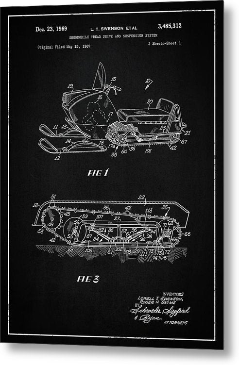 Vintage Snow Mobile Patent, 1969 - Metal Print from Wallasso - The Wall Art Superstore