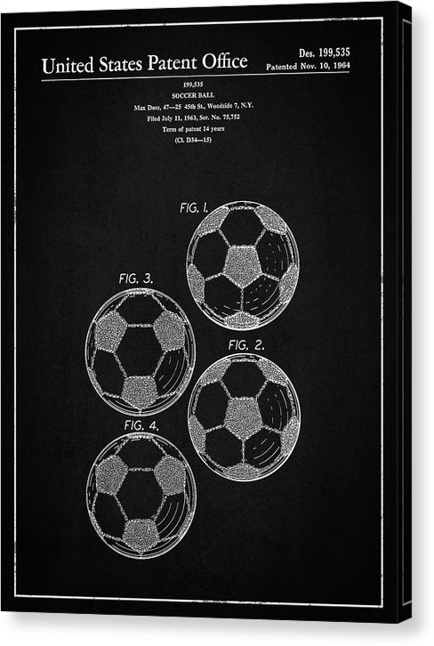 Vintage Soccer Ball Patent, 1964 - Canvas Print from Wallasso - The Wall Art Superstore