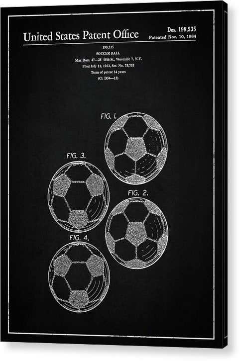 Vintage Soccer Ball Patent, 1964 - Acrylic Print from Wallasso - The Wall Art Superstore