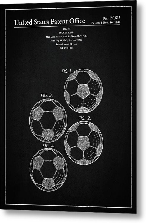 Vintage Soccer Ball Patent, 1964 - Metal Print from Wallasso - The Wall Art Superstore