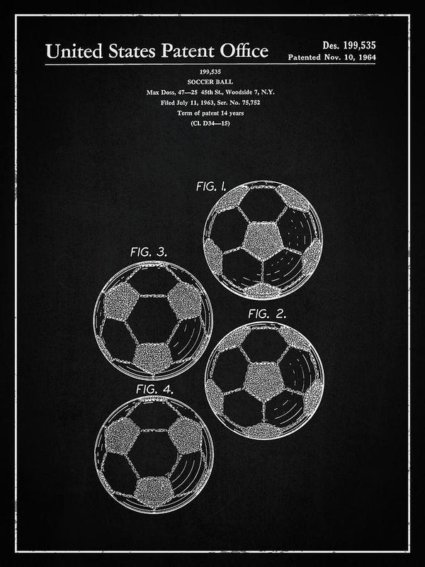 Vintage Soccer Ball Patent, 1964 - Art Print from Wallasso - The Wall Art Superstore