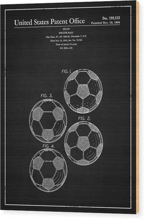 Vintage Soccer Ball Patent, 1964 - Wood Print from Wallasso - The Wall Art Superstore