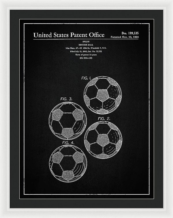 Vintage Soccer Ball Patent, 1964 - Framed Print from Wallasso - The Wall Art Superstore