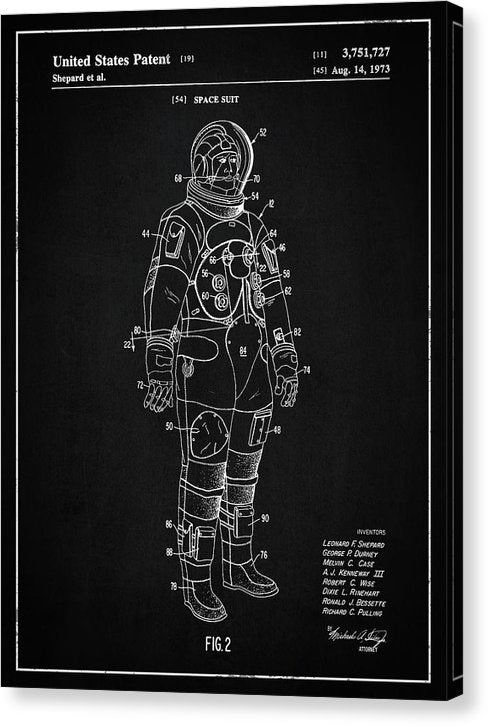 Vintage Space Suit Patent, 1973 - Canvas Print from Wallasso - The Wall Art Superstore