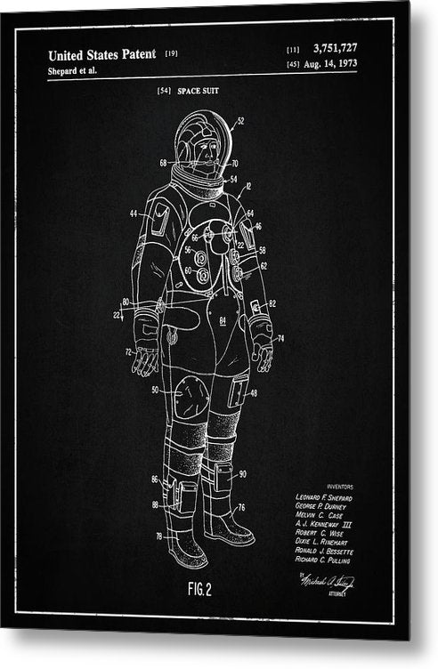 Vintage Space Suit Patent, 1973 - Metal Print from Wallasso - The Wall Art Superstore