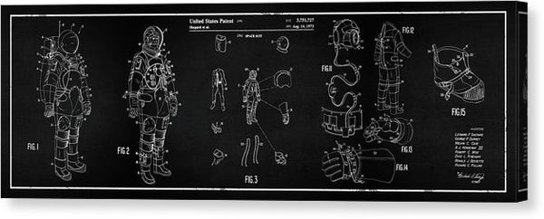 Vintage Space Suit Patent Panoramic, 1973 - Canvas Print from Wallasso - The Wall Art Superstore