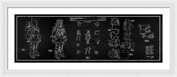 Vintage Space Suit Patent Panoramic, 1973 - Framed Print from Wallasso - The Wall Art Superstore
