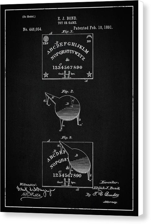 Vintage Spirit Board Patent, 1891 - Canvas Print from Wallasso - The Wall Art Superstore