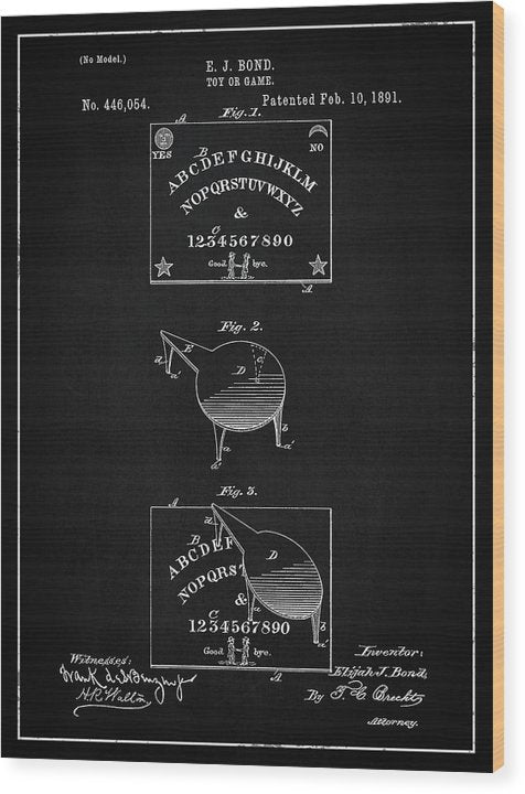 Vintage Spirit Board Patent, 1891 - Wood Print from Wallasso - The Wall Art Superstore