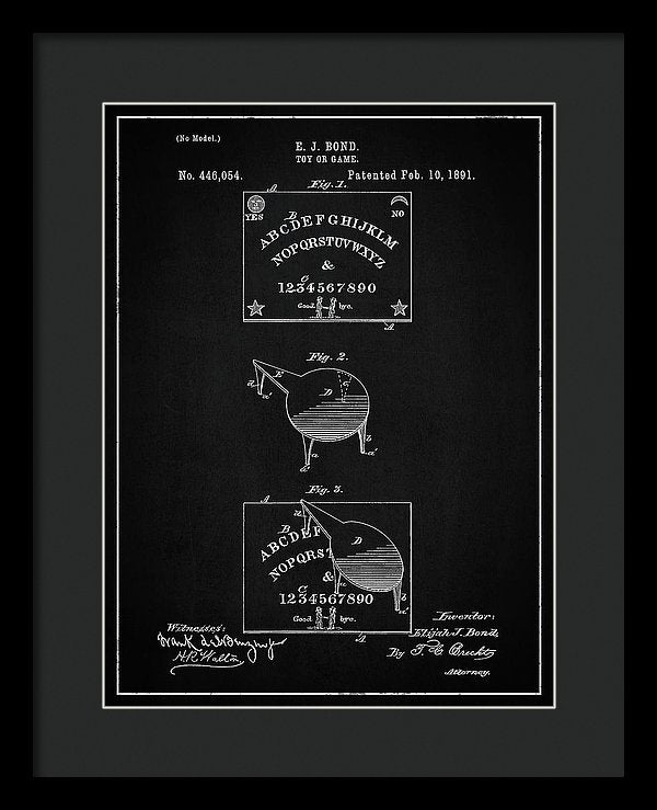 Vintage Spirit Board Patent, 1891 - Framed Print from Wallasso - The Wall Art Superstore