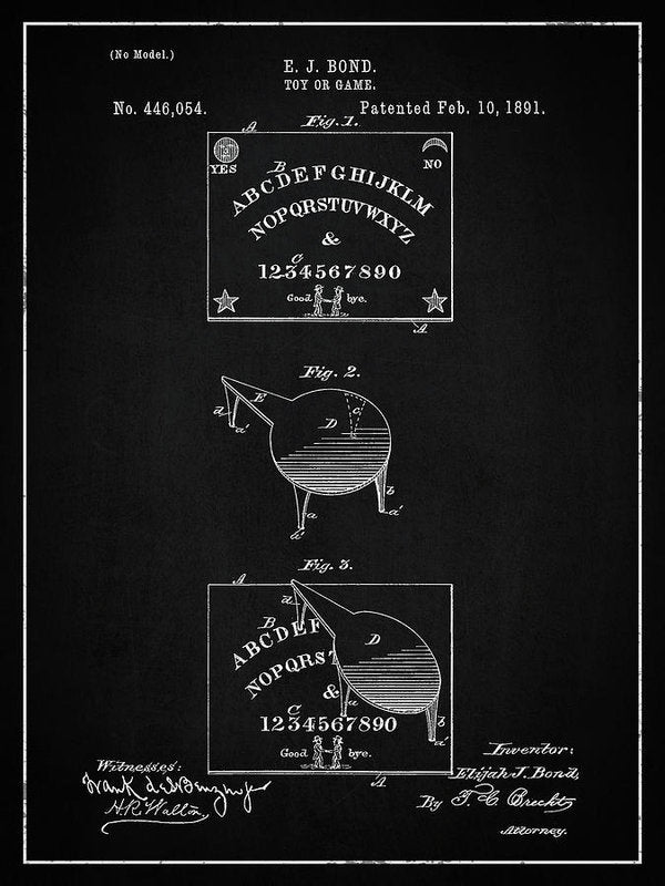 Vintage Spirit Board Patent, 1891 - Art Print from Wallasso - The Wall Art Superstore