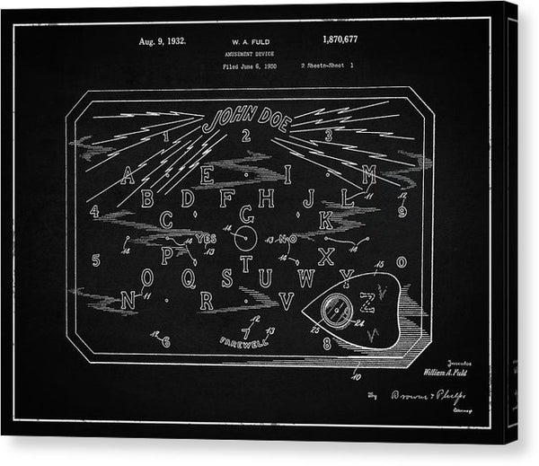 Vintage Spirit Board Patent, 1932 - Canvas Print from Wallasso - The Wall Art Superstore