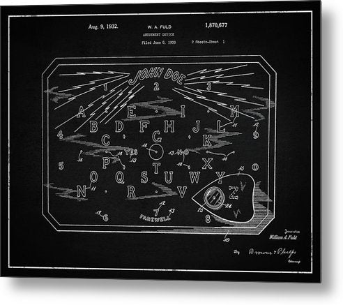 Vintage Spirit Board Patent, 1932 - Metal Print from Wallasso - The Wall Art Superstore