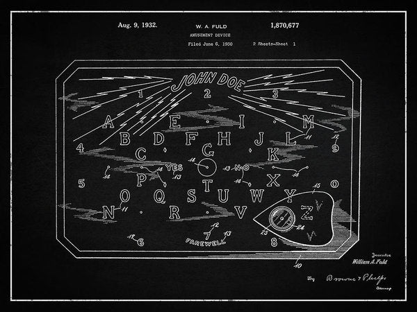 Vintage Spirit Board Patent, 1932 - Art Print from Wallasso - The Wall Art Superstore