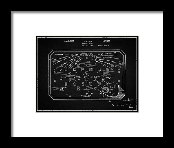 Vintage Spirit Board Patent, 1932 - Framed Print from Wallasso - The Wall Art Superstore