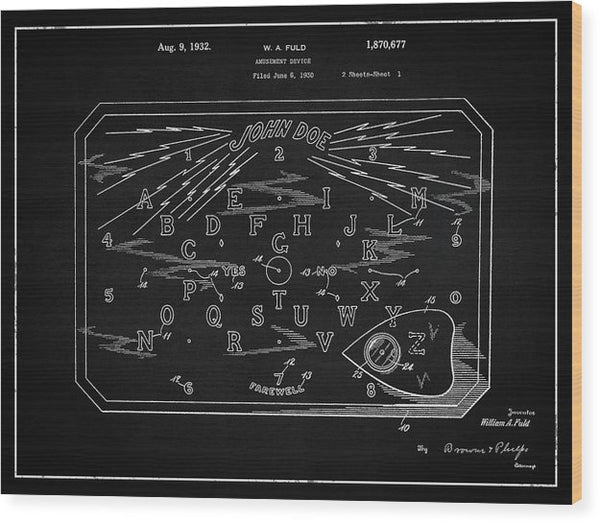 Vintage Spirit Board Patent, 1932 - Wood Print from Wallasso - The Wall Art Superstore