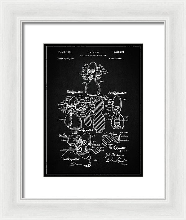 Vintage Squeeze Toy Stress Reliever Patent, 1954 - Framed Print from Wallasso - The Wall Art Superstore