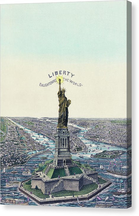 Vintage Statue of Liberty Illustration - Canvas Print from Wallasso - The Wall Art Superstore