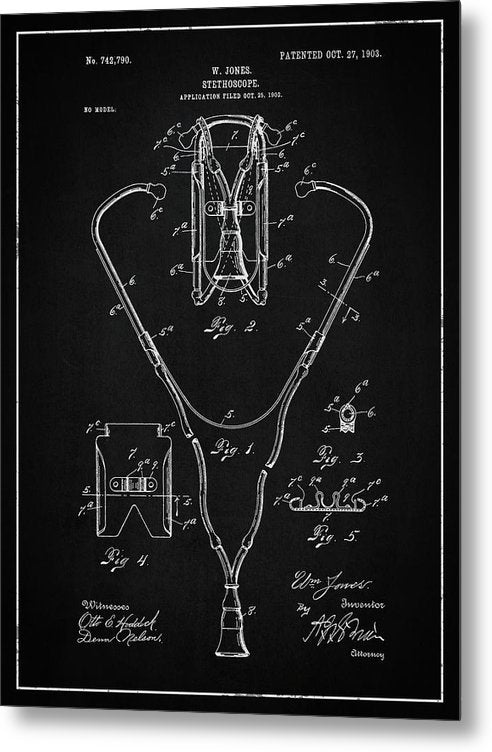 Vintage Stethoscope Patent, 1903 - Metal Print from Wallasso - The Wall Art Superstore