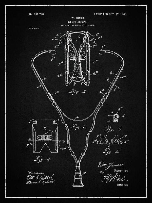 Vintage Stethoscope Patent, 1903 - Art Print from Wallasso - The Wall Art Superstore