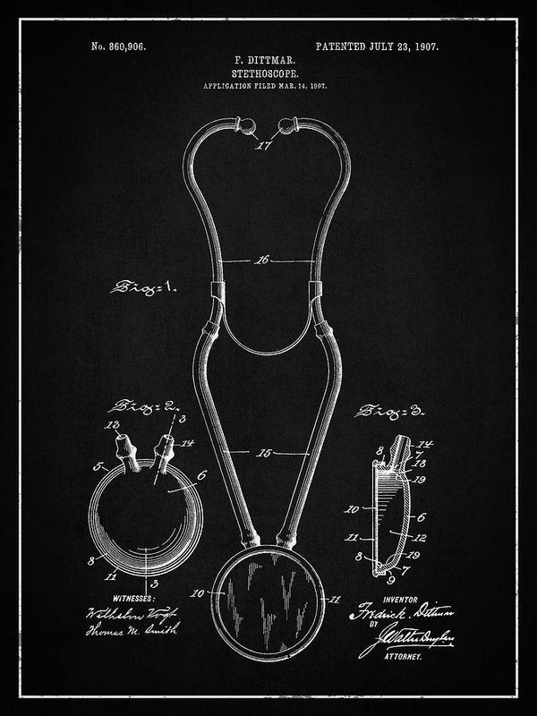 Vintage Stethoscope Patent, 1907 - Art Print from Wallasso - The Wall Art Superstore