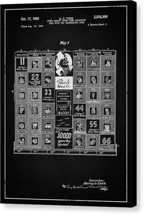 Vintage Stock Market Board Game Patent, 1950 - Canvas Print from Wallasso - The Wall Art Superstore