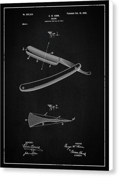 Vintage Straight Razor Patent, 1902 - Canvas Print from Wallasso - The Wall Art Superstore