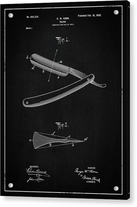 Vintage Straight Razor Patent, 1902 - Acrylic Print from Wallasso - The Wall Art Superstore