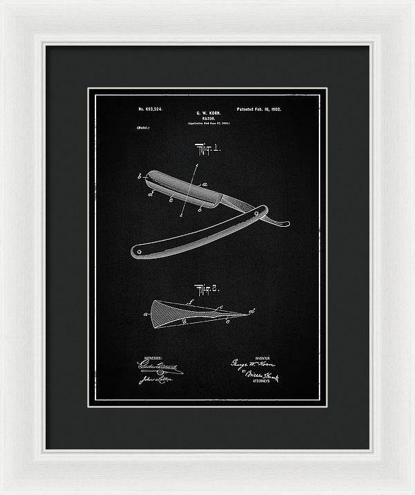 Vintage Straight Razor Patent, 1902 - Framed Print from Wallasso - The Wall Art Superstore