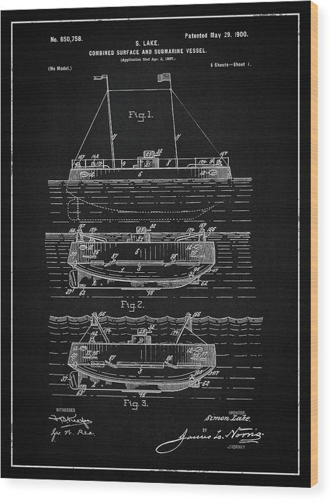 Vintage Submarine Patent, 1900 - Wood Print from Wallasso - The Wall Art Superstore