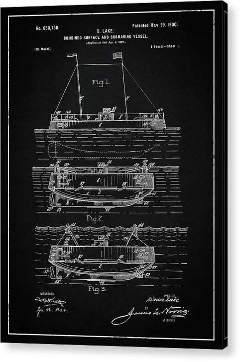 Vintage Submarine Patent, 1900 - Acrylic Print from Wallasso - The Wall Art Superstore