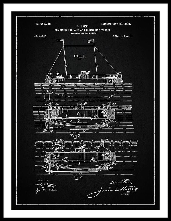 Vintage Submarine Patent, 1900 - Framed Print from Wallasso - The Wall Art Superstore