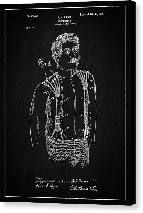 Vintage Suspenders Patent, 1900 - Canvas Print from Wallasso - The Wall Art Superstore