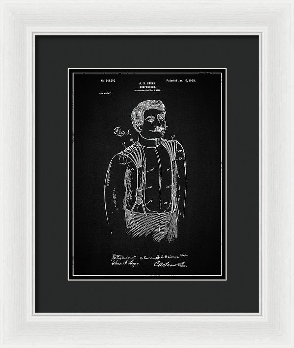Vintage Suspenders Patent, 1900 - Framed Print from Wallasso - The Wall Art Superstore