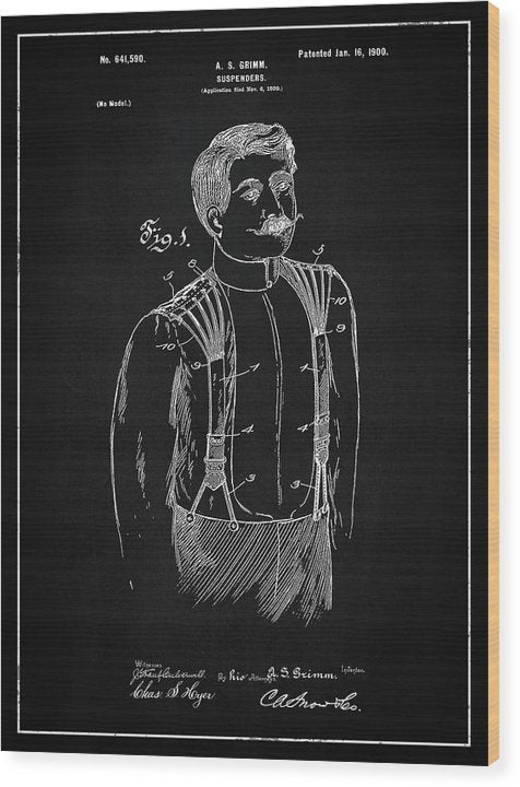 Vintage Suspenders Patent, 1900 - Wood Print from Wallasso - The Wall Art Superstore