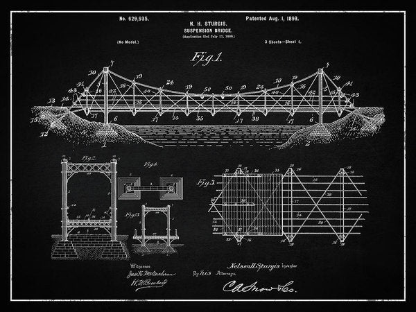 Vintage Suspension Bridge Patent, 1899 - Art Print from Wallasso - The Wall Art Superstore