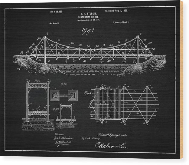 Vintage Suspension Bridge Patent, 1899 - Wood Print from Wallasso - The Wall Art Superstore
