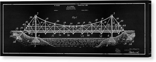 Vintage Suspension Bridge Patent Panoramic, 1899 - Canvas Print from Wallasso - The Wall Art Superstore