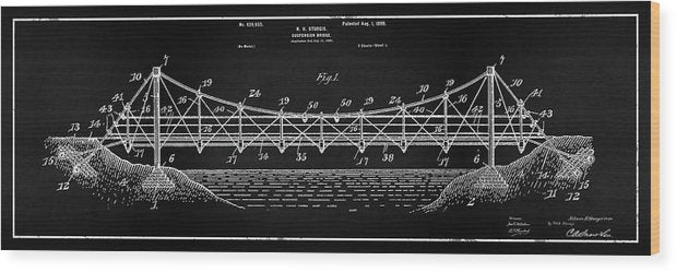 Vintage Suspension Bridge Patent Panoramic, 1899 - Wood Print from Wallasso - The Wall Art Superstore