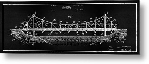 Vintage Suspension Bridge Patent Panoramic, 1899 - Metal Print from Wallasso - The Wall Art Superstore
