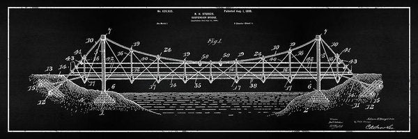 Vintage Suspension Bridge Patent Panoramic, 1899 - Art Print from Wallasso - The Wall Art Superstore