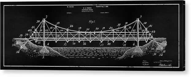 Vintage Suspension Bridge Patent Panoramic, 1899 - Acrylic Print from Wallasso - The Wall Art Superstore