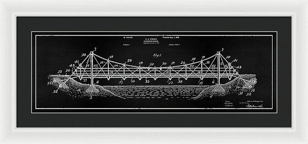 Vintage Suspension Bridge Patent Panoramic, 1899 - Framed Print from Wallasso - The Wall Art Superstore