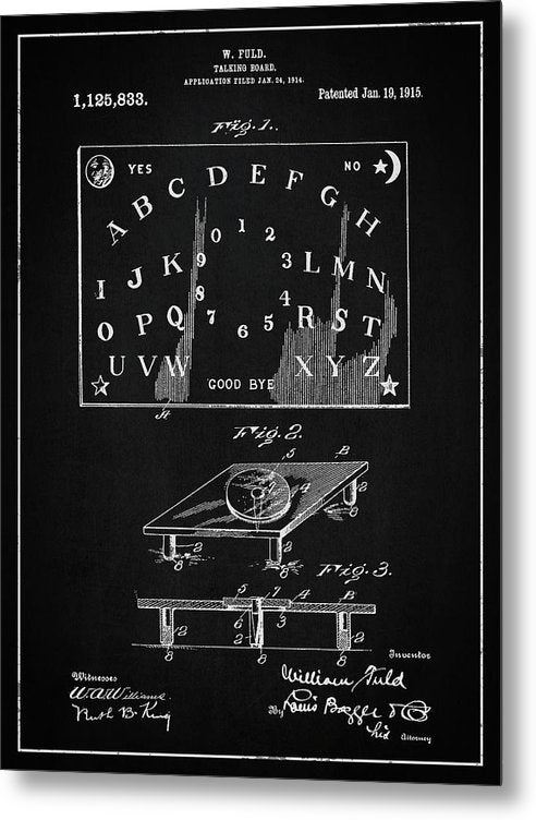 Vintage Talking Board Patent, 1915 - Metal Print from Wallasso - The Wall Art Superstore